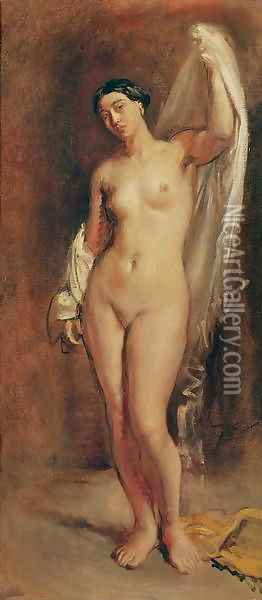 Standing Female Nude, study for the central figure of 'The Tepidarium', 1853 Oil Painting - Theodore Chasseriau