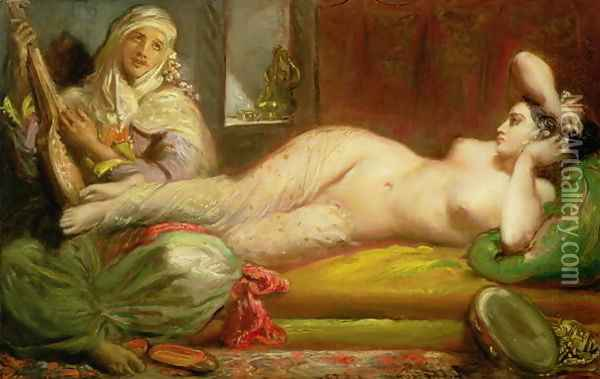 Reclining Odalisque, 1853 Oil Painting - Theodore Chasseriau