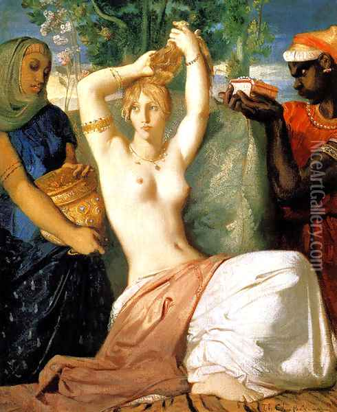 Esther Preparing to be Presented to King Ahasuerus (or The Toilet of Esther) Oil Painting - Theodore Chasseriau
