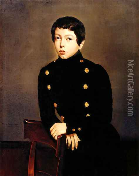 Portrait of Ernest Chasseriau, The Painter's Brother in the Uniform of the Ecole Navale in Brest about the Age of 13 Oil Painting - Theodore Chasseriau