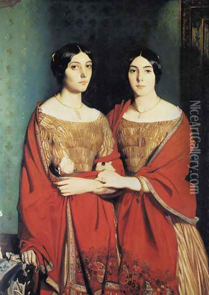 The Two Sisters, or Mesdemoiselles Chasseriau: Marie-Antoinette-Adele (1810-69) and Genevieve (Aline) (1822-71) sisters of the artist, 1843 Oil Painting - Theodore Chasseriau