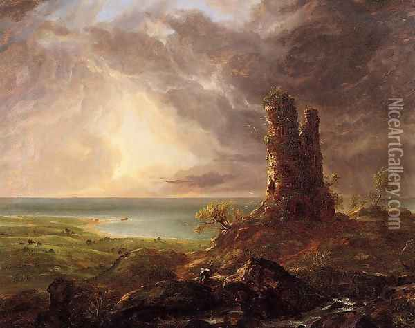 Romantic Landscape with Ruined Tower Oil Painting - Thomas Cole