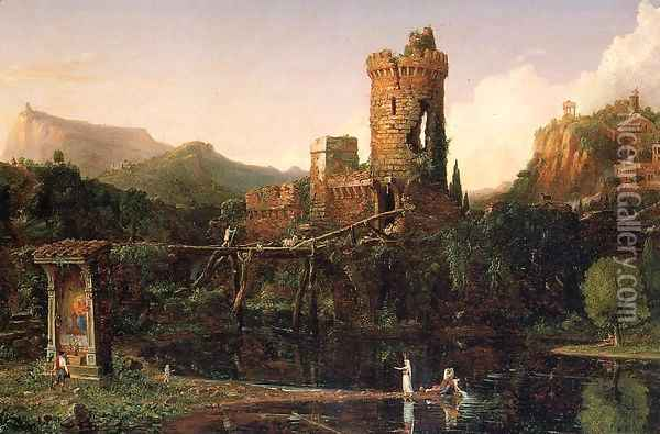 Landscape Composition, Italian Scenery Oil Painting - Thomas Cole
