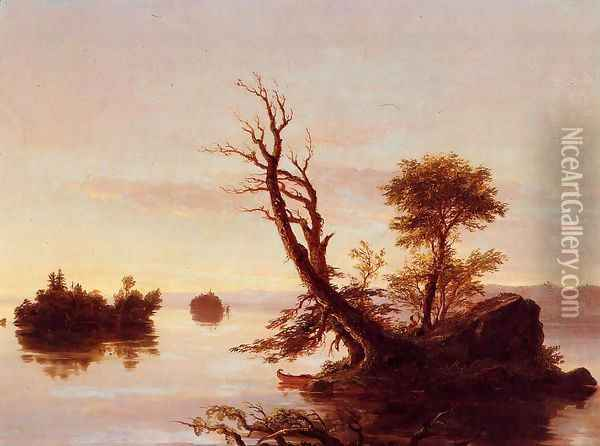 American Lake Scene, 1844 Oil Painting - Thomas Cole