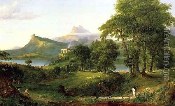 The Course of Empire, The Arcadian or Pastoral State Oil Painting - Thomas Cole