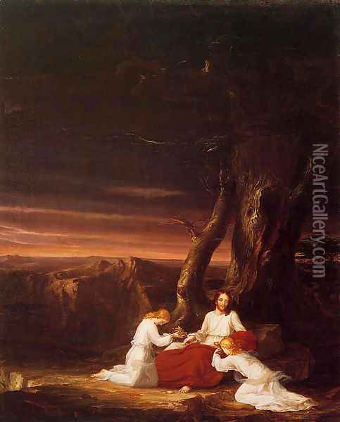 Angels Ministering to Christ in the Wilderness Oil Painting - Thomas Cole