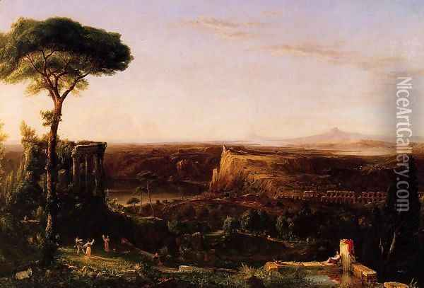 Italian Scene, Composition Oil Painting - Thomas Cole