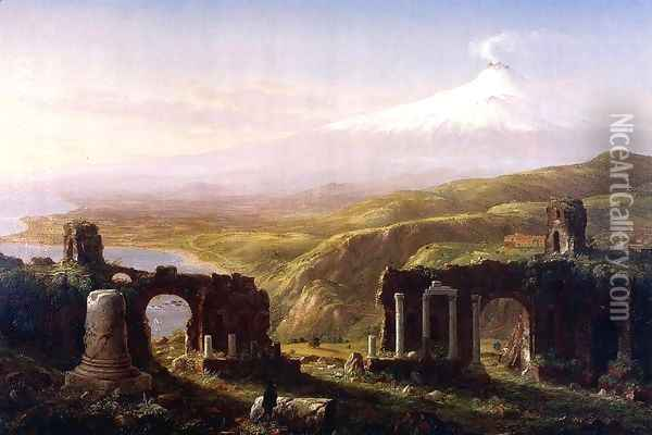 Mount Aetna from Taormina, Sicily Oil Painting - Thomas Cole