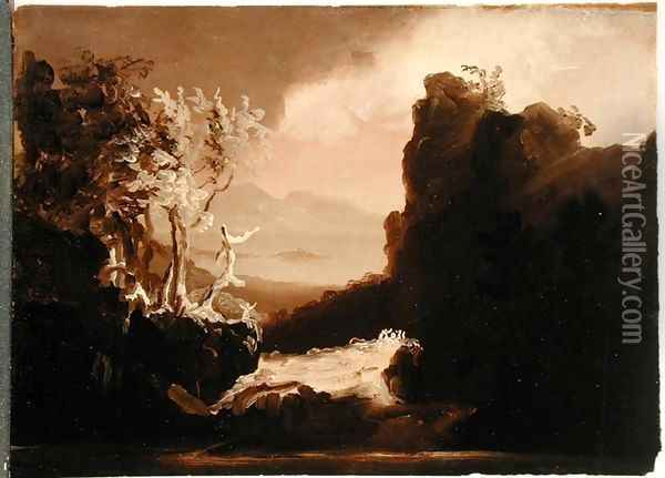 Romantic Landscape (Last of the Mohicans), 1827 Oil Painting - Thomas Cole