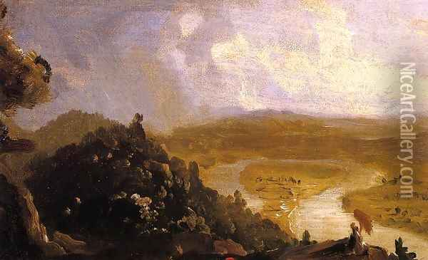 Sketch for 'View from Mount Holyoke, Northampton, Massachusetts, after a Thunderstorm' (The Oxbow) Oil Painting - Thomas Cole