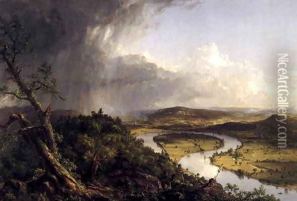 View from Mount Holyoke, Northamptom, Massachusetts, after a Thunderstorm (The Oxbow) 1836 Oil Painting - Thomas Cole