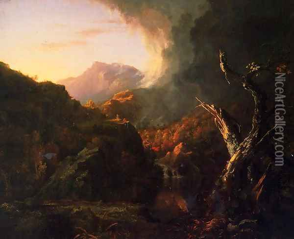 Landscape with Dead Trees Oil Painting - Thomas Cole