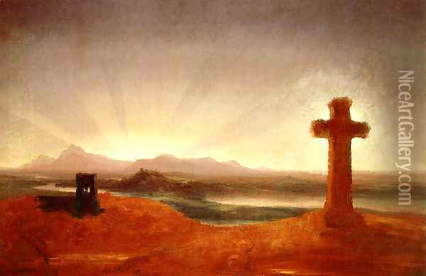 Cross at Sunset Oil Painting - Thomas Cole