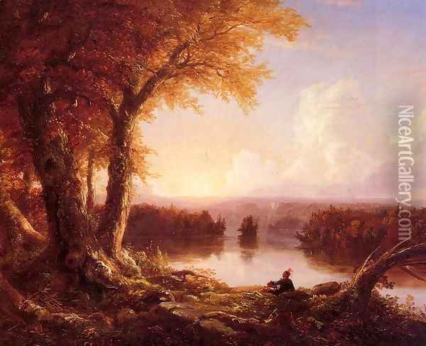 Indian at Sunset Oil Painting - Thomas Cole