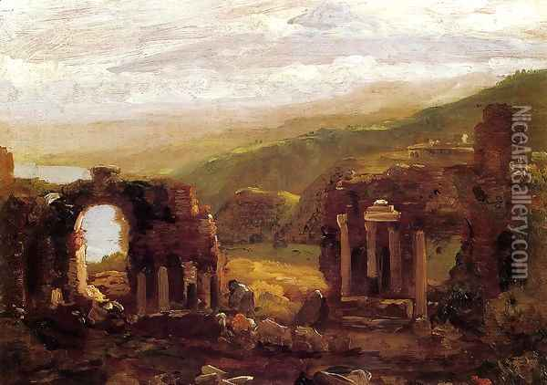 The Ruins of Taormina (sketch) Oil Painting - Thomas Cole