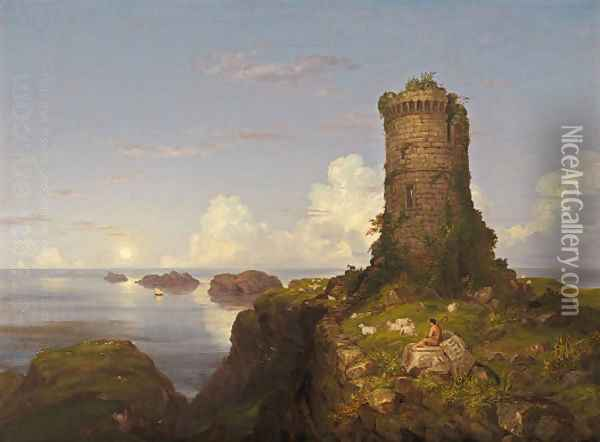 Italian Coast Scene with Ruined Tower Oil Painting - Thomas Cole