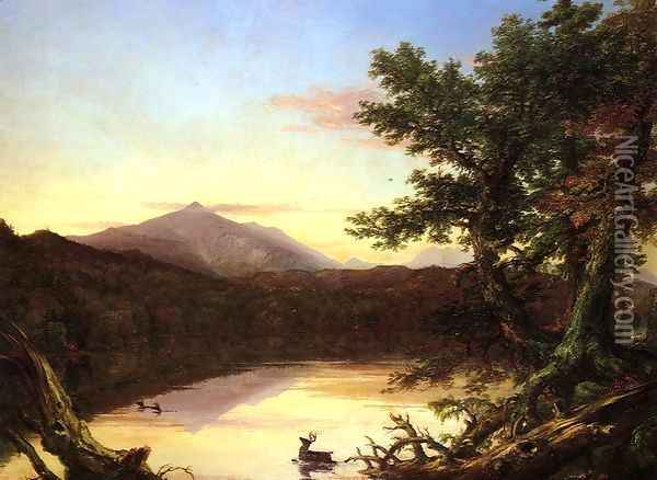 Schroon Lake Oil Painting - Thomas Cole