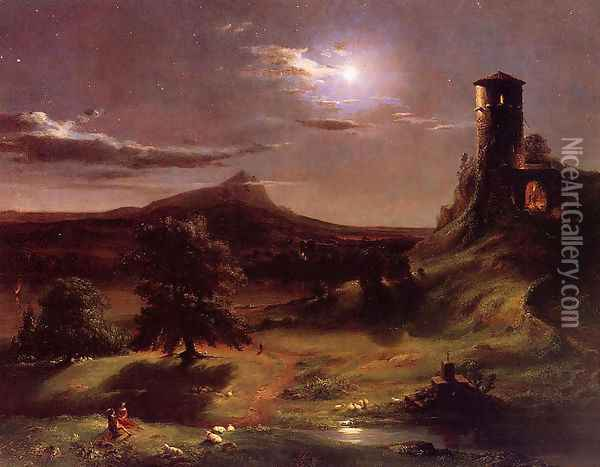 Moonlight Oil Painting - Thomas Cole