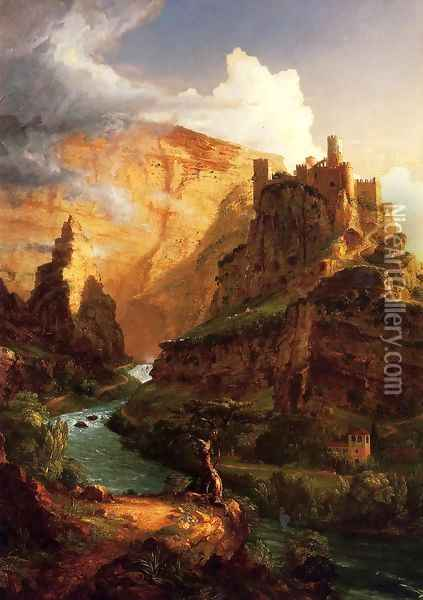 Valley of the Vaucluse Oil Painting - Thomas Cole