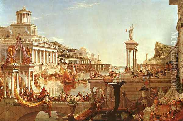 The Course of the Empire: The Consummation Oil Painting - Thomas Cole