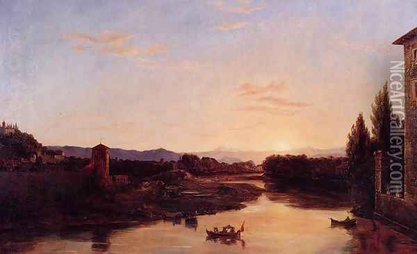 Sunset of the Arno Oil Painting - Thomas Cole