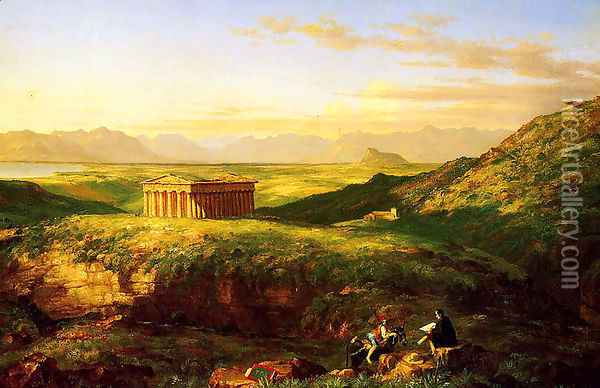 The Temple of Segesta with the Artist Sketching Oil Painting - Thomas Cole