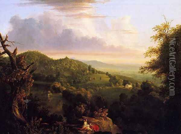 View of Monte Video, Seat of Daniel Wadsworth, Esq. Oil Painting - Thomas Cole