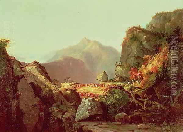 Scene from The Last of the Mohicans 1826 Oil Painting - Thomas Cole