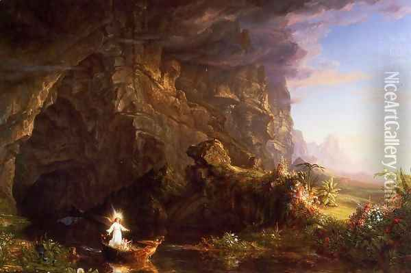 The Voyage of Life, Childhood Oil Painting - Thomas Cole