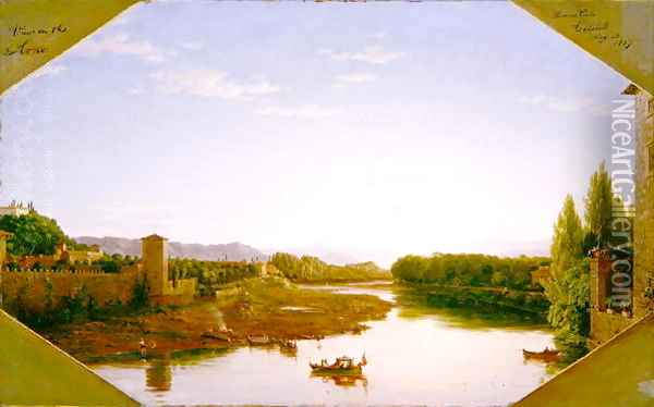 View on the Arno near Florence 1837 Oil Painting - Thomas Cole