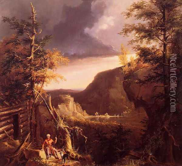 Daniel Boone Sitting at the Door of His Cabin on the Great Osage Lake, Kentucky Oil Painting - Thomas Cole