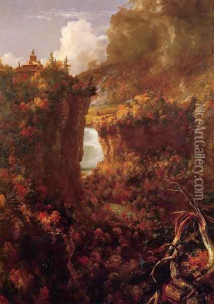 Portage Falls on the Genesee Oil Painting - Thomas Cole
