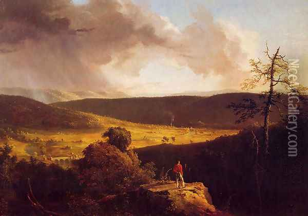 View of L'Esperance on the Schoharie River Oil Painting - Thomas Cole