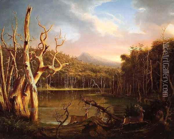 Lake with Dead Trees (Catskill) Oil Painting - Thomas Cole