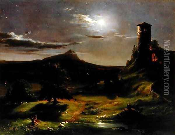 Landscape (Moonlight), c.1833-34 Oil Painting - Thomas Cole