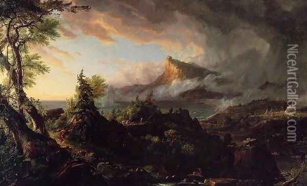 The Course of the Empire: The Savage State Oil Painting - Thomas Cole