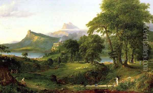 The Course of Empire: The Arcadian or Pastoral State c.1836 Oil Painting - Thomas Cole