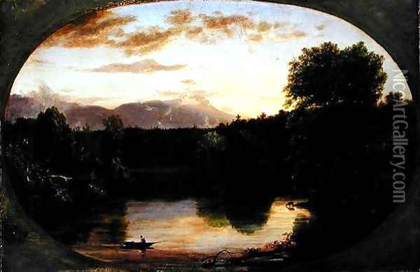 Sunset, View on Catskill Creek, 1833 Oil Painting - Thomas Cole