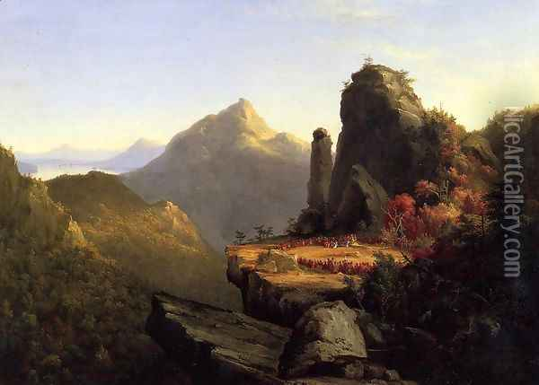Scene from 'The Last of the Mohicans': Cora Kneeling at the Feet of Tanemund Oil Painting - Thomas Cole