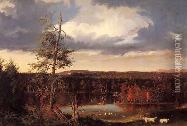 Landscape, the Seat of Mr. Featherstonhaugh in the Distance Oil Painting - Thomas Cole