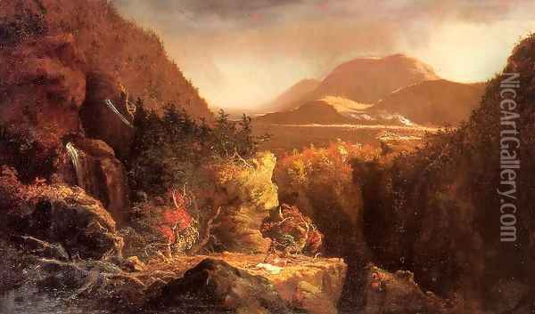 Landscape with Figures: A Scene from 'The Last of the Mohicans' Oil Painting - Thomas Cole