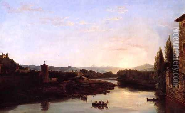 View of the Arno Oil Painting - Thomas Cole