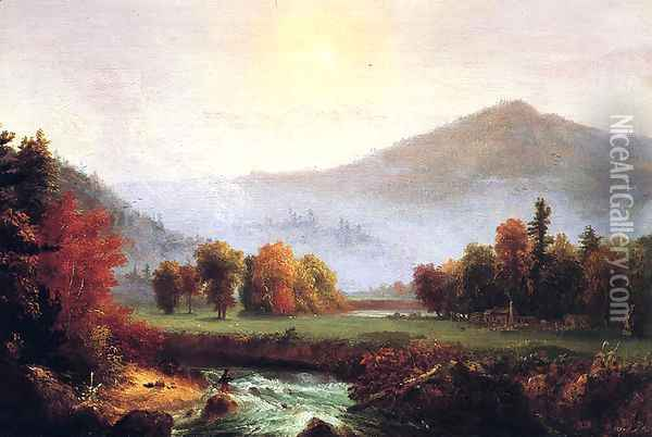 Morning Mist Rising, Plymouth, New Hampshire (A View in the United States of America in Autumn) Oil Painting - Thomas Cole
