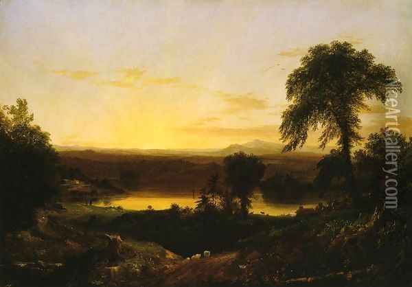 Summer Twilight: A Recollection of a Scene in New England Oil Painting - Thomas Cole