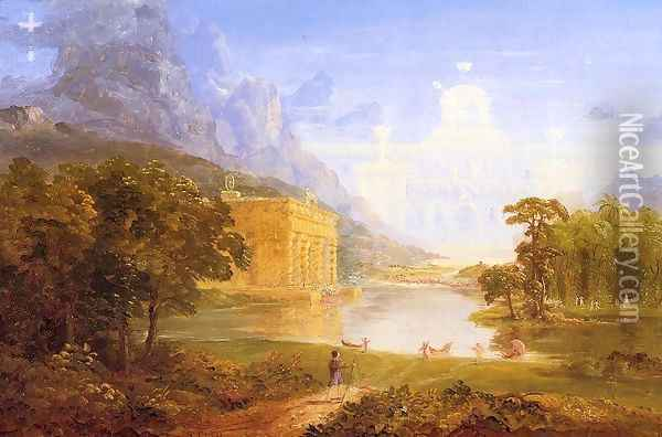 The Cross and the World: Study for 'The Pilgrim of the World on His Journey' Oil Painting - Thomas Cole