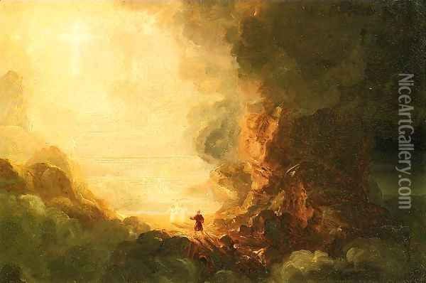 The Cross and the World: Study for 'The Pilgrim of the Cross at the End of His Journey' Oil Painting - Thomas Cole