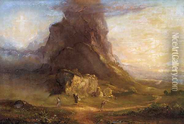 The Cross and the World: Study for 'Two Youths Enter Upon a Pilgrimage - One to Cross the Other to the World Oil Painting - Thomas Cole