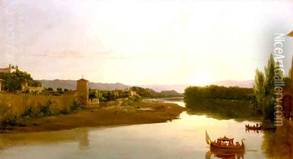 Sunset on the Arno Oil Painting - Thomas Cole