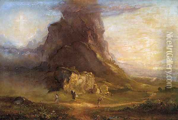 The Cross and the World: Study for 'Two Youths Enter Upon a Pilgrimage' Oil Painting - Thomas Cole