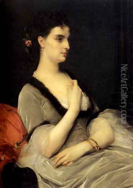 Portrait of Countess E. A. Vorontsova-Dashkova Oil Painting - Alexandre Cabanel